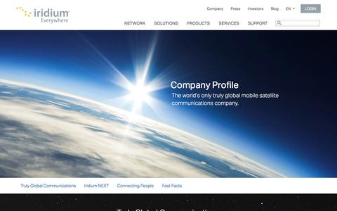 Screenshot of About Page iridium.com - Company Profile - captured Feb. 11, 2016