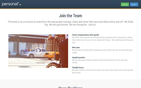 Screenshot of Jobs Page personal.com - Careers | Personal.com - captured July 19, 2014