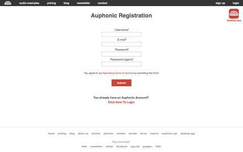 Screenshot of Signup Page auphonic.com - Registration - captured Sept. 22, 2014