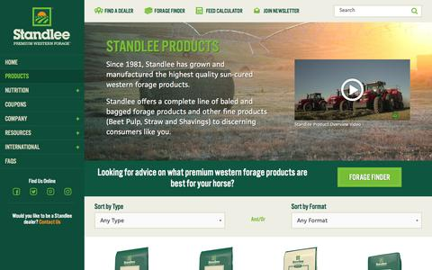 Screenshot of Products Page standleeforage.com - Products Overview | Standlee Forage - captured Dec. 1, 2016