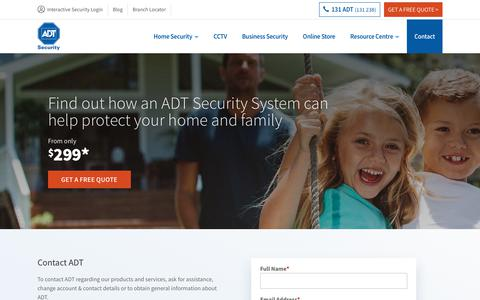 Screenshot of Contact Page adtsecurity.com.au - Contact ADT Security | 131 ADT (238) | ADT Security Australia - captured Aug. 7, 2019