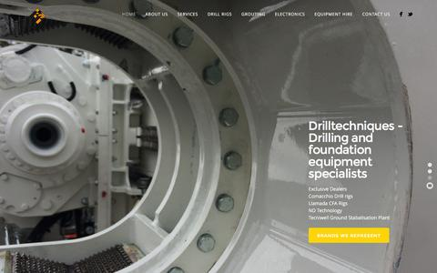 Screenshot of Home Page drilltechniques.com.au - Drilltechniques | - Drill rigs, Comacchio, Tecniwell, Llamada, Geotechnical, Exploration, Grouting - captured Jan. 7, 2016