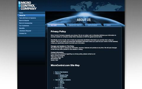 Screenshot of Privacy Page Site Map Page microcontrol.com - Privacy Policy - Burn-in Test Systems, Memory Burn-in - Micro Control Company - captured Oct. 27, 2014