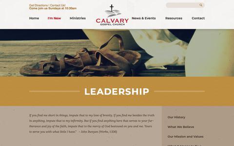 Screenshot of Team Page calvarygospel.ca - Calvary Gospel Church: Beamsville, Ontario > Leadership - captured Sept. 26, 2018