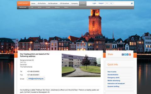 Screenshot of Contact Page one2many.eu - Netherlands - one2many.eu - captured Oct. 18, 2018