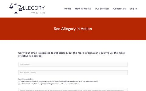 Screenshot of Trial Page allegorylaw.com - See Allegory in Action — Allegory - captured Sept. 13, 2014