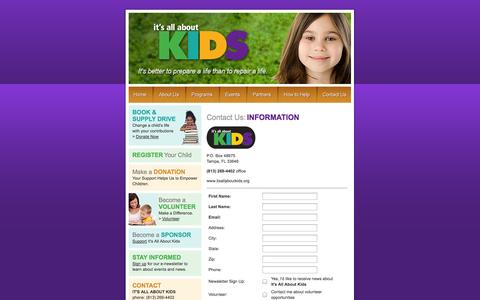 Screenshot of Contact Page Signup Page itsallaboutkids.org - It's All About Kids - captured Oct. 23, 2014