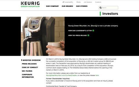 Investors | Keurig Green Mountain, Inc.