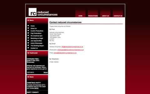 Screenshot of Contact Page reducedcircumstances.co.uk - Contact - captured Sept. 26, 2014