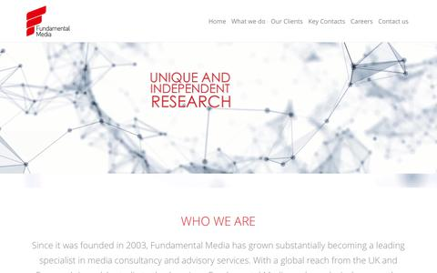 Screenshot of Home Page fundamentalmedia.com - Fundamental Media | Media Buying, Planning & Research Consultancy - captured Aug. 9, 2019