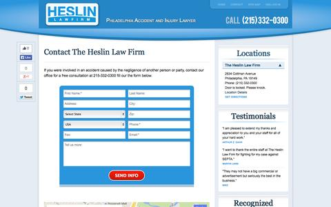 Screenshot of Contact Page Locations Page heslinlawfirm.com - Contact | Heslin Law Firm - captured Oct. 23, 2014