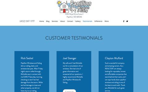 Screenshot of Testimonials Page papillionwindowsandsiding.com - Testimonials   Papillion Windows and Siding - captured Sept. 26, 2018