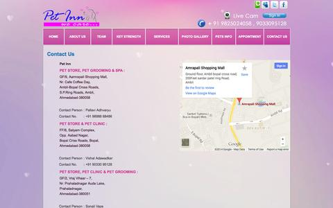 Screenshot of Contact Page petinn.co.in - Contact Us - Pet Grooming | Pet Spa | Pet Food & Accessories | Pet Inn | Pet Boarding | Pet Shops In Ahmedabad - captured Oct. 27, 2014