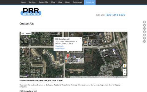 Screenshot of Contact Page prrcomputers.com - Contact Us | PRR Computers, LLC - captured Jan. 29, 2017