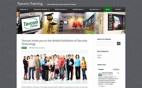 Screenshot of Press Page tavcom.com - News and Events - Tavcom Training - captured Oct. 7, 2014