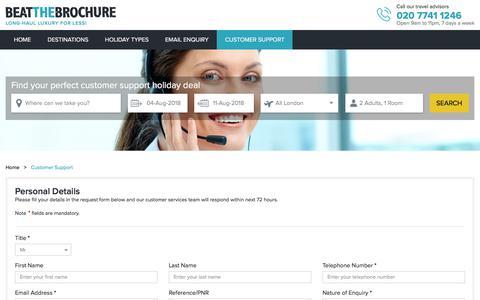 Screenshot of Support Page beatthebrochure.com - Customer Support | Beat The Brochure - captured Aug. 1, 2018