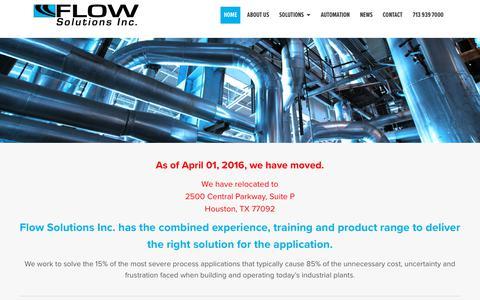 Screenshot of Home Page flowsolutionsinc.com - Flow Solutions Inc. Homepage - Flow Solutions, Inc - captured Aug. 14, 2018
