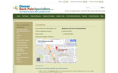 Screenshot of Maps & Directions Page denverbackpainspecialists.com - Denver Knee, Back, Shoulder, Spine & Neck Pain Therapy Specialists - captured July 30, 2017