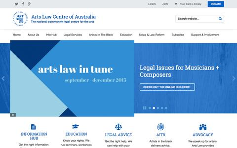 Screenshot of Home Page artslaw.com.au - Arts Law Centre of Australia - captured Oct. 1, 2015
