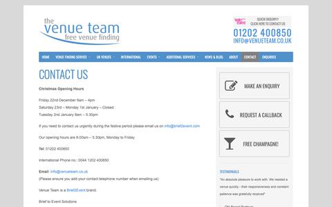 Screenshot of Contact Page venueteam.co.uk - Contact Us | The Venue Team - captured Sept. 30, 2018