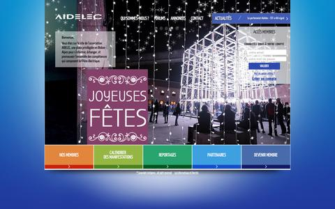Screenshot of Home Page aidelec.com - Aidelec - Association d'industriels pour le dŽveloppement de l'ŽlectricitŽ en Rh™ne Alpes. - captured Dec. 24, 2015