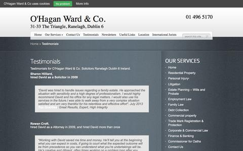 Screenshot of Testimonials Page ohaganward.ie - Testimonials | O'Hagan Ward & Co Solicitors - captured Oct. 18, 2017