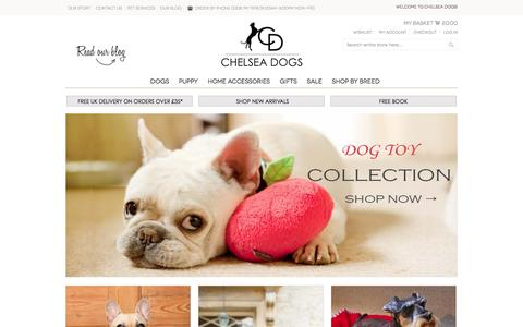 Screenshot of Home Page chelseadogs.com - Luxury Dog Beds   Designer Posh Leather Dog Collars And Leads - captured Jan. 23, 2016