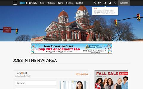 Screenshot of Jobs Page nwitimes.com - Jobs in the NWI Area | nwitimes.com - captured Sept. 22, 2018