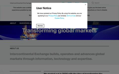 Screenshot of About Page intercontinentalexchange.com - Intercontinental Exchange: About - captured July 6, 2018