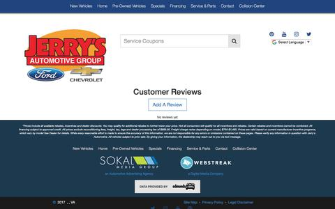 Screenshot of Testimonials Page jerrysauto.com - Customer Reviews - captured Oct. 16, 2017