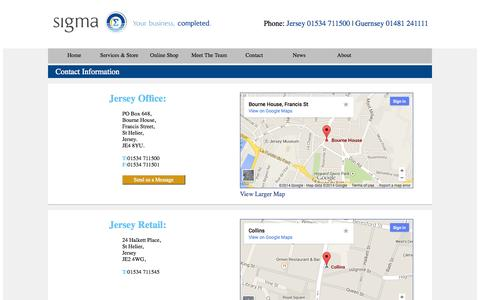 Screenshot of Contact Page Terms Page sigmaci.com - Contact Us. Sigma - your business, completed. - captured Oct. 4, 2014