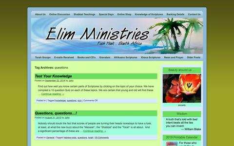 Screenshot of FAQ Page elim.co.za - questions   Elim Ministries - captured Nov. 10, 2018