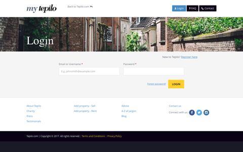 Screenshot of Login Page tepilo.com - Login | My Tepilo - captured Jan. 26, 2017