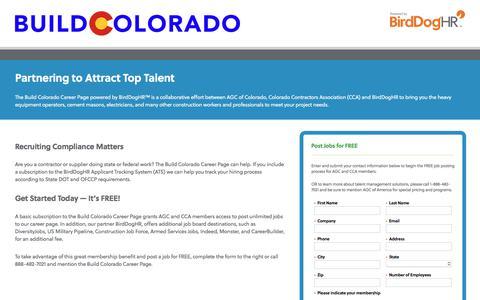 Screenshot of Landing Page birddoghr.com - Build Colorado Career Page powered by BirdDogHR - captured May 22, 2018