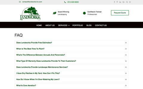 Screenshot of FAQ Page landworks-inc.com - FAQs - Landworks-Inc, LLC - Overland Park, Kansas City - captured July 16, 2018