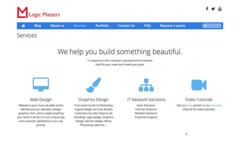 Screenshot of Services Page logicmatters.org - Logic Matters : Services - where we treat you with respect - captured Dec. 12, 2015