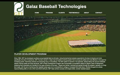 Screenshot of Home Page galazbt.com - Galaz Baseball Technologies | Seattle - captured Oct. 1, 2014