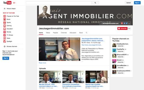 Screenshot of YouTube Page youtube.com - Jesuisagentimmobilier. com  - YouTube - captured Oct. 23, 2014