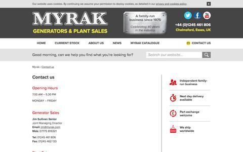 Screenshot of Contact Page myrak.com - Contact us - Myrak Generators & Plant Sales - captured July 27, 2018