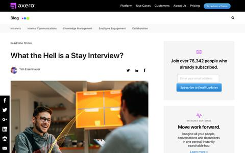 Screenshot of Blog axerosolutions.com - What the Hell is a Stay Interview? - captured Dec. 10, 2019
