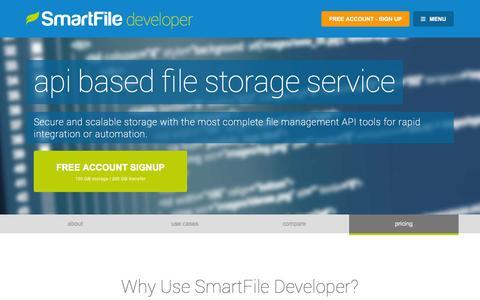 Screenshot of Developers Page smartfile.com - File Hosting API with Sharing and User Integrations - SmartFile Developer - captured Oct. 26, 2014