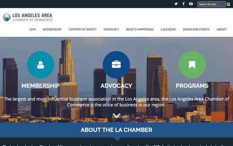 Screenshot of Home Page lachamber.com - Los Angeles Area Chamber of Commerce - captured Sept. 30, 2018