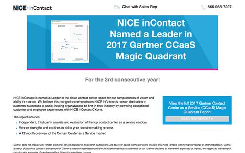 Screenshot of Landing Page niceincontact.com - NICE inContact | Gartner Magic Quadrant 2017 - captured Jan. 30, 2018