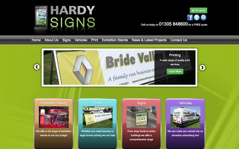 Screenshot of Home Page hardysigns.com - Hardy Signs - Signage Company Dorset - captured Sept. 30, 2014