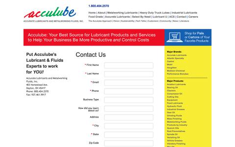 Screenshot of Contact Page acculube.com - Metalworking Lubricants & Industrial Greases For OH, IN, KY - captured July 29, 2018
