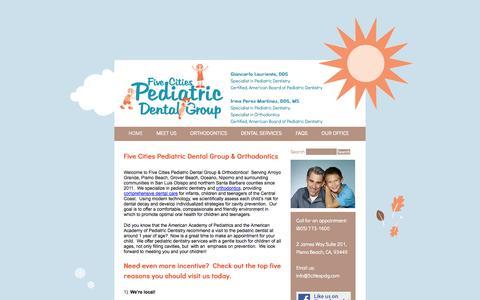 Screenshot of Home Page 5citiespdg.com - 5citiespdg.com   Orthodontics, pediatric dentistry, pediatric dentist, Gold Coast pediatric dentist - captured Oct. 6, 2014