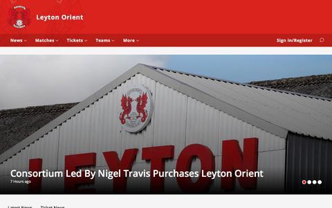 Screenshot of Home Page leytonorient.com - Leyton Orient - captured June 22, 2017