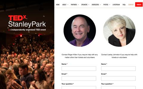 Screenshot of Contact Page tedxstanleypark.com - Contact :: TEDxStanleyPark - captured Sept. 20, 2018