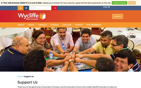 Screenshot of Support Page wycliffe.org.au - Support Us - Wycliffe Australia - captured Oct. 26, 2017