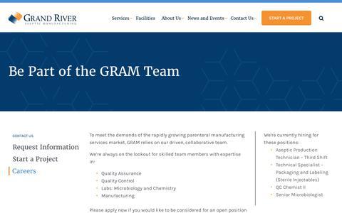 Screenshot of Jobs Page grandriverasepticmfg.com - Job Postings | GRAM - captured Sept. 11, 2017